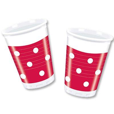 Стаканы пластик Горошек красный, 10 штук 1502-1797
