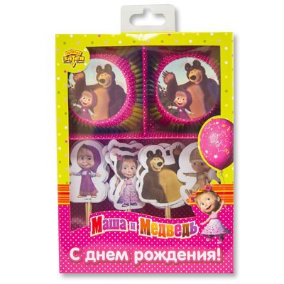 Декор-комплект для кекса Маша и Медведь