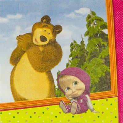 Салфетки Маша и Медведь, 25 см, 12 штук 1502-1840