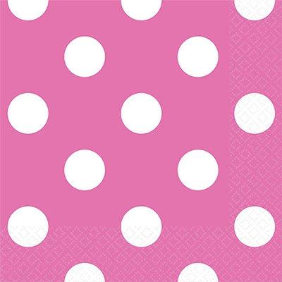 Салфетки ярко-розовые Горошек, 25 см 1502-1963