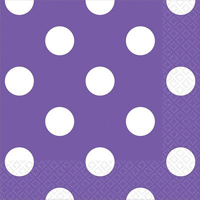 Салфетки фиолетовые Горошек, 25 см 1502-1965