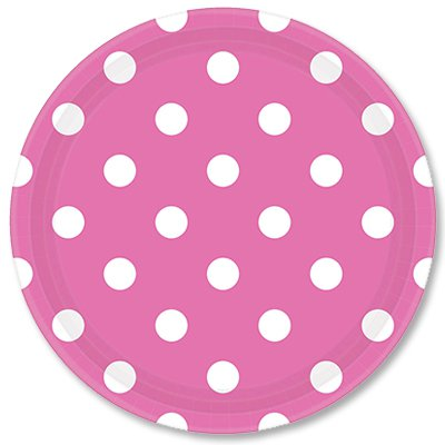 Тарелки ярко-розовые Горошек, 23 см 1502-1967