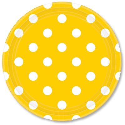 Тарелки солнечно-желтые Горошек, 23 см