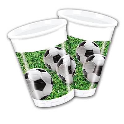 Стаканы Футбол зеленый, газон, 8 штук