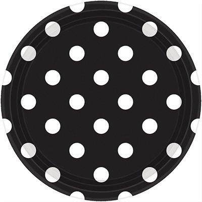 Тарелки черные Black Горошек, 23 см 1502-2370