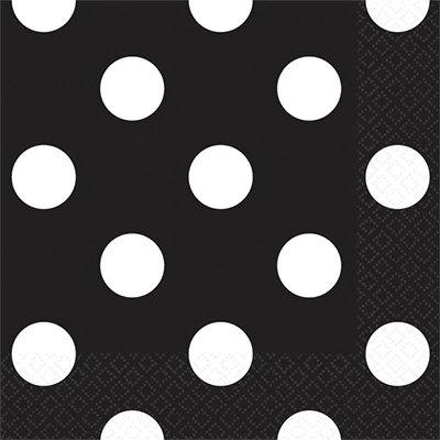 Салфетки черные Горошек, 25 см 1502-2377