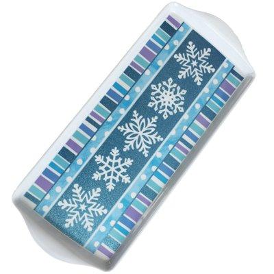 Поднос пластик Снежинки блеск 1502-2607