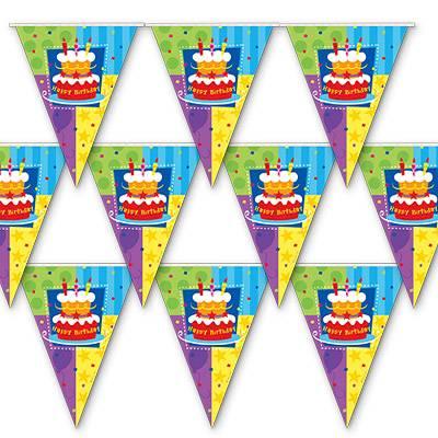 Гирлянда вымпел Торт Birthday 360см 1505-0405