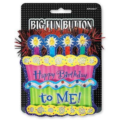 Значок большой Happy birthday to me Торт 1507-0632