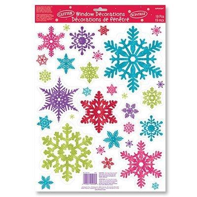 Наклейки на окно Снежинки разноцветные 1507-0952