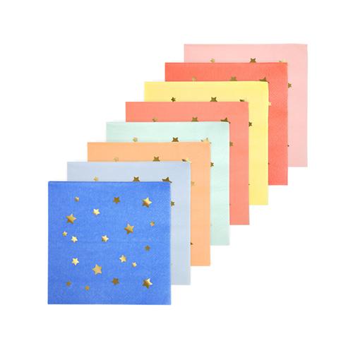 """Салфетки """"Звезды"""", разноцветные, маленькие 156385"""
