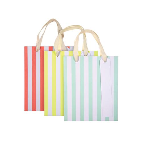 Пакеты подарочные в полоску, неон, маленькие 157906