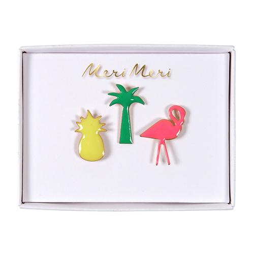 """Значки """"Фламинго, пальма, ананас"""" 160876"""