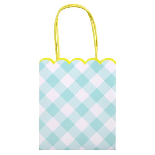 """Пакеты для подарков гостям """"Клетка Гингем"""", голубые, 8 шт.. 167878"""