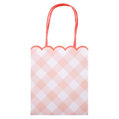 """Пакеты для подарков гостям """"Клетка Гингем"""", розовые, 8 шт.. 167932"""