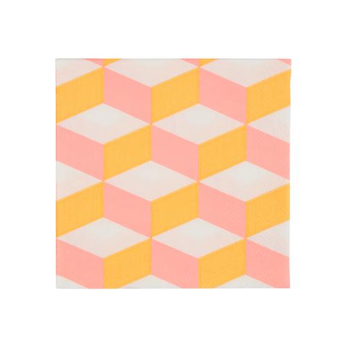 """Салфетки """"Кубик розово-оранжевый"""", маленькие, 20 шт. 168391"""
