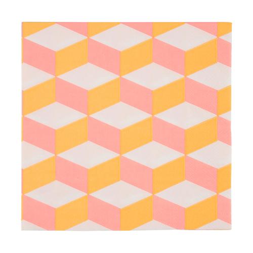 """Салфетки """"Кубик розово-оранжевый"""", большие, 20 шт. 168418"""