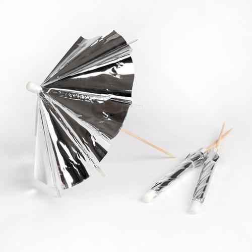 """Зонтик коктейльный """"Серебро"""", длинный, 24 шт. 174331"""