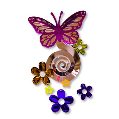 Спираль Бабочка с цветами, 63 см. 2001-1289