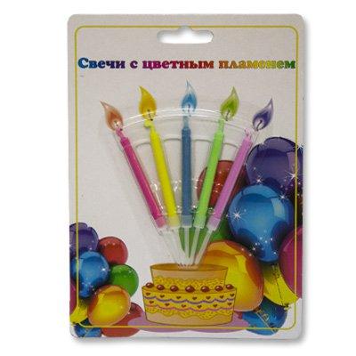 Свечи для торта с цветным огнем, 5 штук 2007-0696