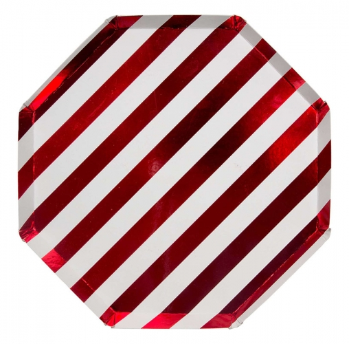 Тарелки красные блестящие полоски, бол.