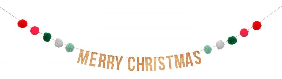 Гирлянда «Счастливого Рождества», помпоны