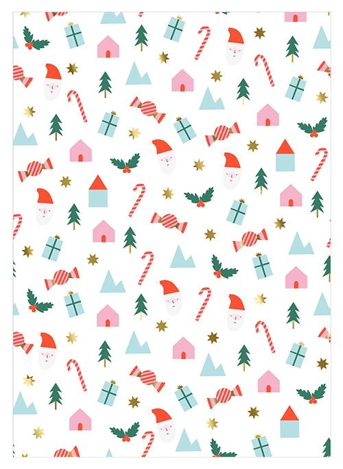 Упаковочная бумага «Новогодние персонажи»
